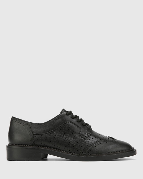 Canan Black Leather Pin Punch Lace Up Leather Brogue. & Wittner & Wittner Shoes