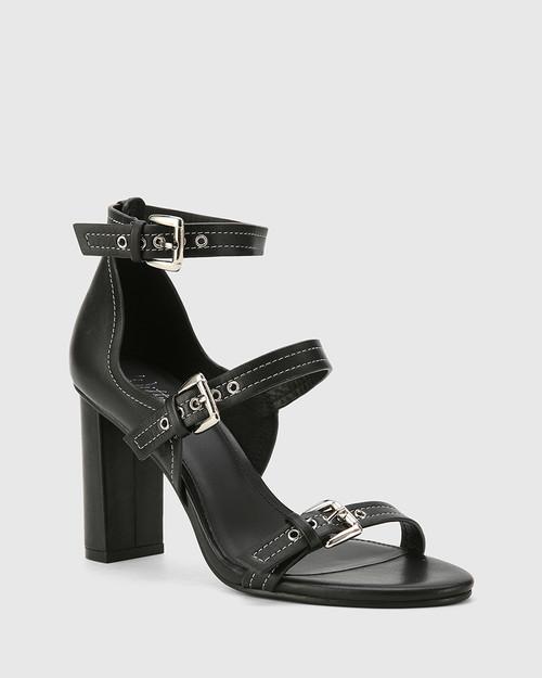 Richie Black Leather Open Toe Block Heel Sandal. & Wittner & Wittner Shoes