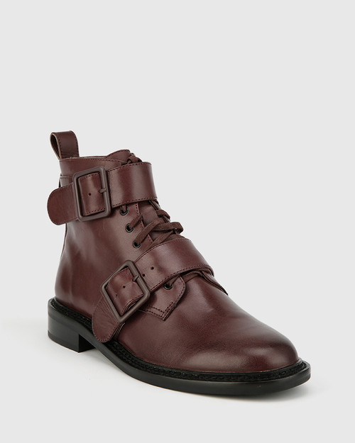 Braiden Wine Leather Double Buckle Lace Up Ankle Boot.
