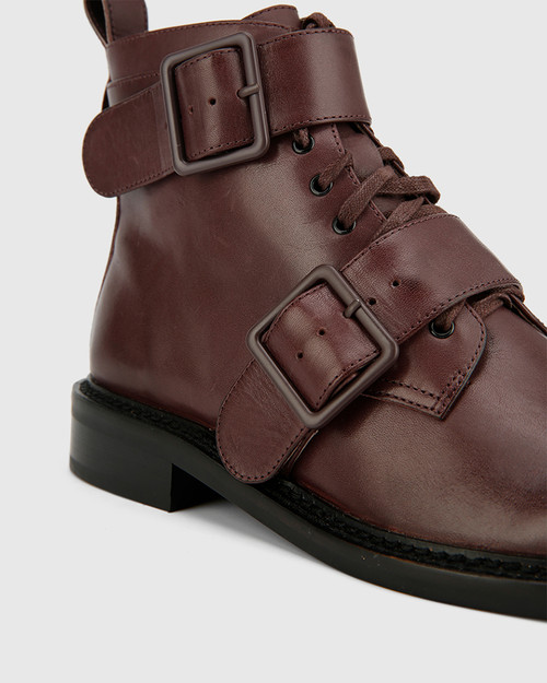 Braiden Wine Leather Double Buckle Lace Up Ankle Boot. & Wittner & Wittner Shoes