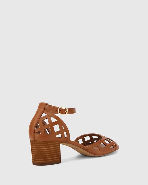 Imani Tan Leather Block Heel Sandal. & Wittner & Wittner Shoes
