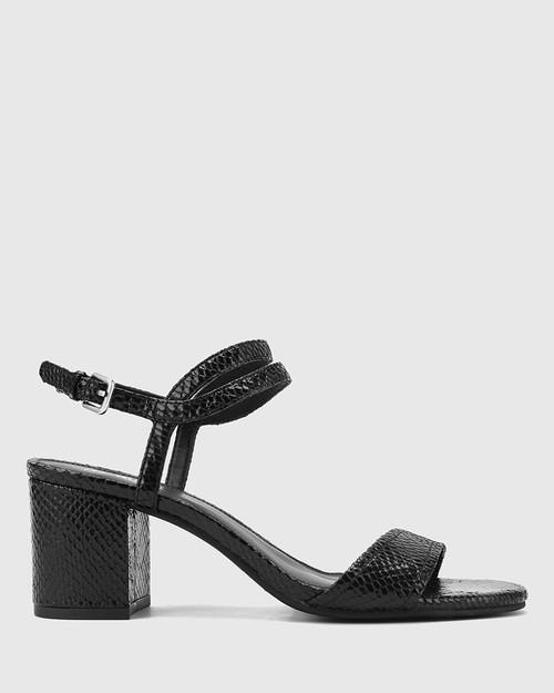 Neoma Black Mini Snake Print Leather Open Toe Block Heel Sandal. & Wittner & Wittner Shoes