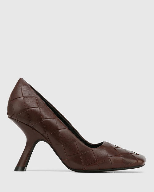 Xavi Brown Woven Leather Slanted Stiletto Heel Pump