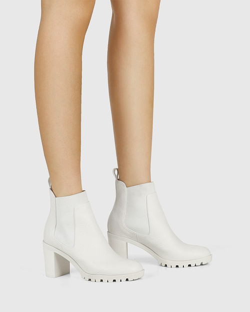 Purcell White Leather Block Heel Ankle Boot & Wittner & Wittner Shoes