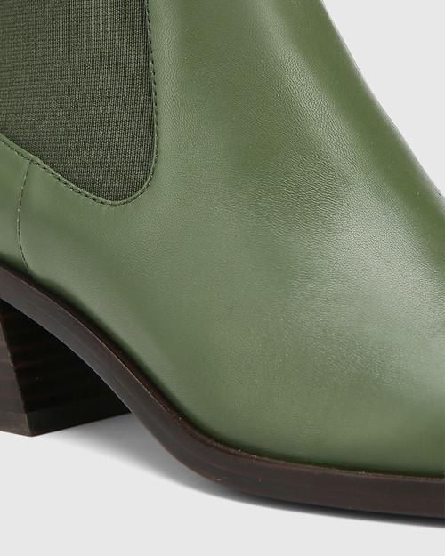 Orleans Olive Green Leather Elastic Gusset Ankle Boot & Wittner & Wittner Shoes