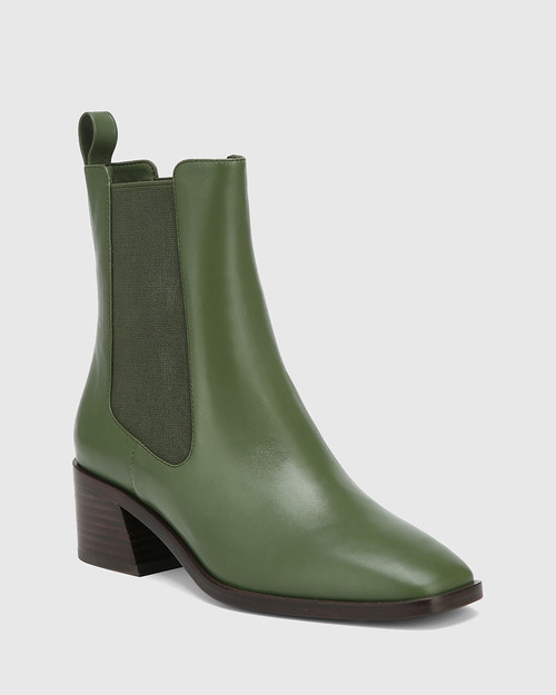 Orleans Olive Green Leather Elastic Gusset Ankle Boot