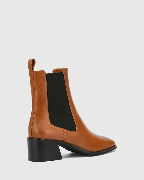 Orleans Brandy Leather Elastic Gusset Ankle Boot & Wittner & Wittner Shoes