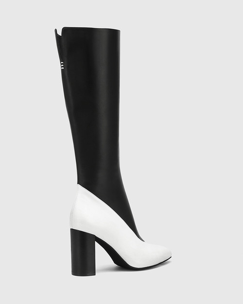 Hollow White And Black Leather Block Heel Long Boot & Wittner & Wittner Shoes