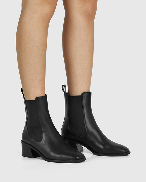 Orleans Black Leather Elastic Gusset Ankle Boot & Wittner & Wittner Shoes