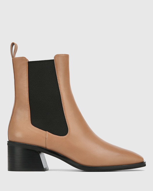 Orleans Cappuccino Leather Elastic Gusset Ankle Boot & Wittner & Wittner Shoes