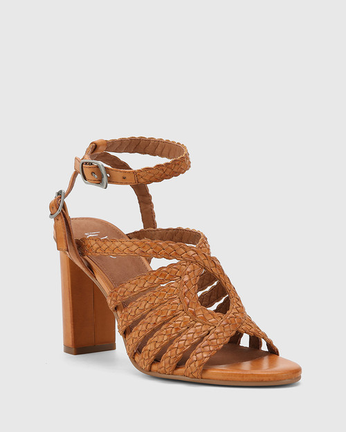 Ryker Tan Leather Block Heel Sandal.