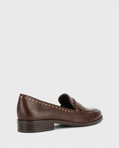 Emelian Chocolate Leather Stud Detail Loafer. & Wittner & Wittner Shoes