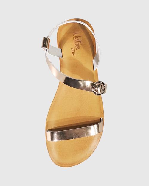 Farida Rose Gold Leather Open Toe Flat Sandal. & Wittner & Wittner Shoes