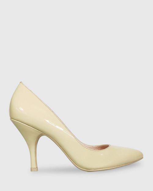 Julienne Honey Patent Almond Toe Mid Heel. & Wittner & Wittner Shoes