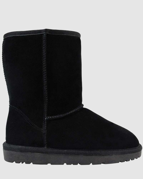 Cosy Black Suede Shearling Lined Boot Slipper