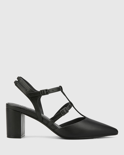 Davor Black Leather Pointed Toe Block Heel.