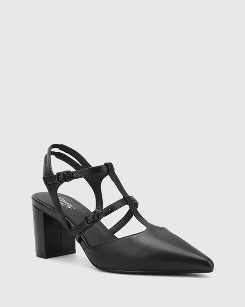 Davor Black Leather Pointed Toe Block Heel