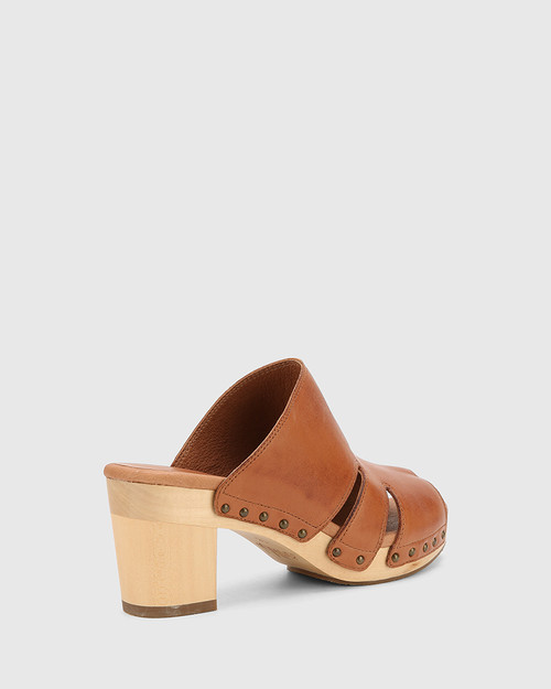 Kaley Brandy Leather Wooden Block Heel Sandal.