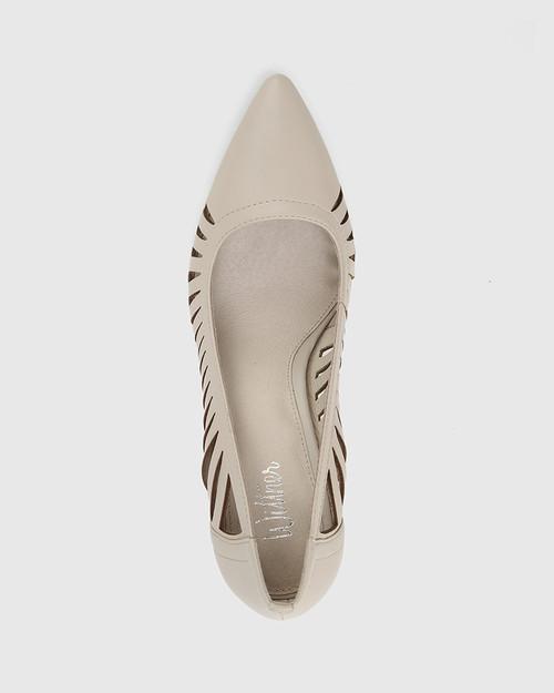 Heily Fog Grey Leather Pointed Toe Stiletto Heel.