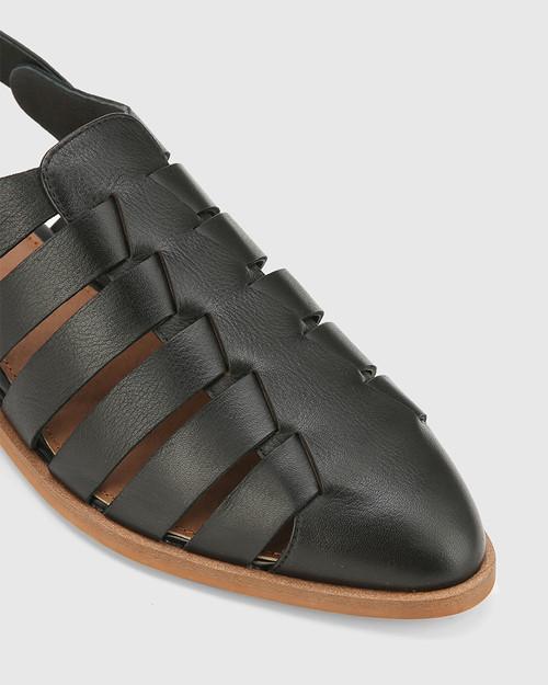 Edgar Black Leather Closed Toe Flat Sandal. & Wittner & Wittner Shoes
