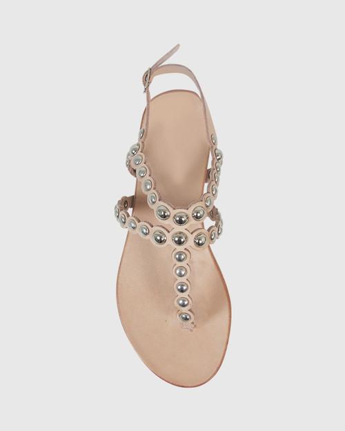 Kezia Nude Leather Silver Stud Flat Sandal. & Wittner & Wittner Shoes