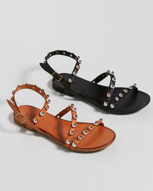 Kalisha Black Leather Strappy Stud Detail Flat Sandal.