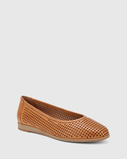 Coraline Coconut Perforated Leather Stack Heel Flat