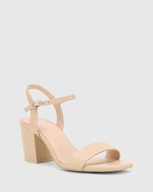 Collin Ecru Leather Block Heel Ankle Strap Sandal.