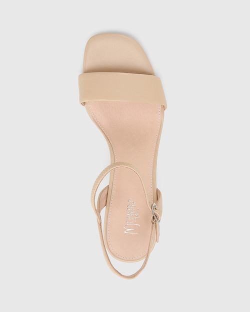 Collin Ecru Leather Block Heel Ankle Strap Sandal.