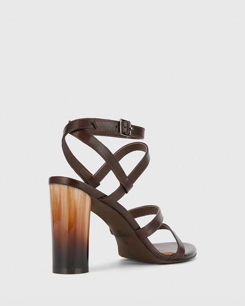 Roger Chocolate Leather Block Heel Sandal