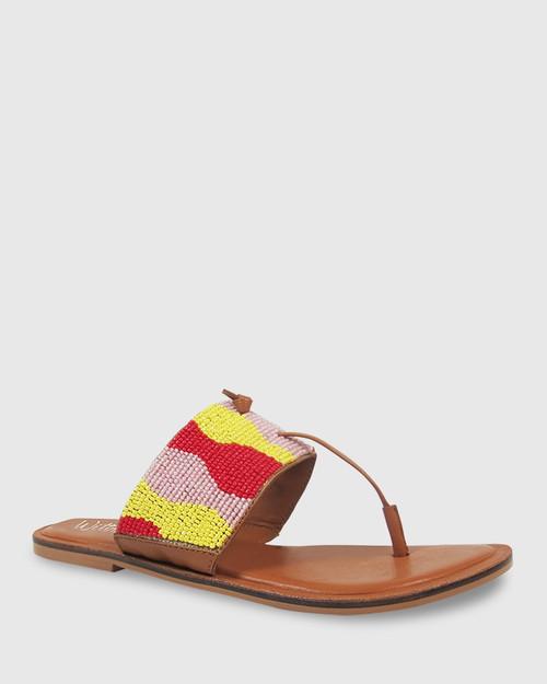 Ilisha Yellow, Pink & Red Beaded Flat Sandal. & Wittner & Wittner Shoes