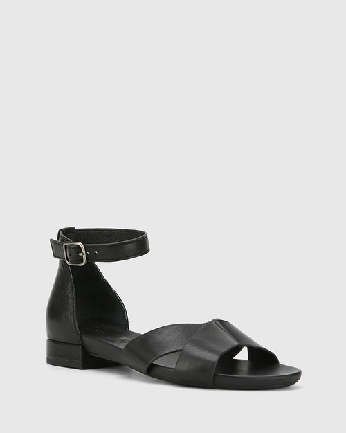 Lalita Black Nappa Leather Open Toe Flat Sandal.