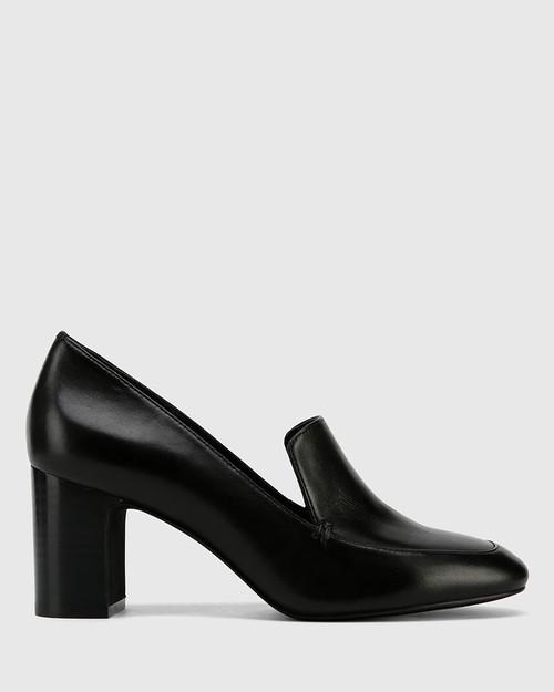 Galis Black Nappa Leather Block Heel Almond Toe Loafer . & Wittner & Wittner Shoes