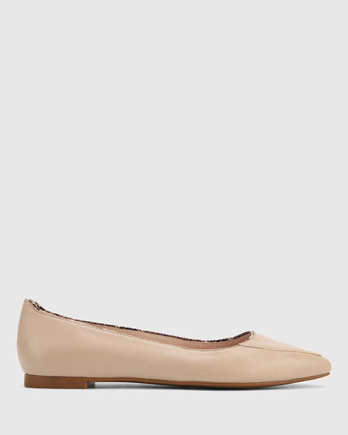 Eldon New Flesh Leather Snib Toe Snake Detail Flat
