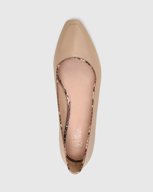 Eldon New Flesh Leather Snib Toe Snake Detail Flat.
