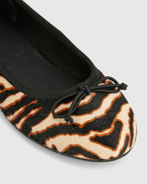 Collies Chocolate Zebra Hair Leather Ballet Flat.