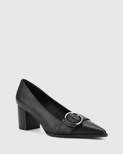 Derry Black Leather Buckle Detail Pump. & Wittner & Wittner Shoes
