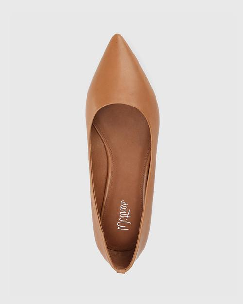 Marina Tan Leather Pointed Toe Slip On Flat. & Wittner & Wittner Shoes