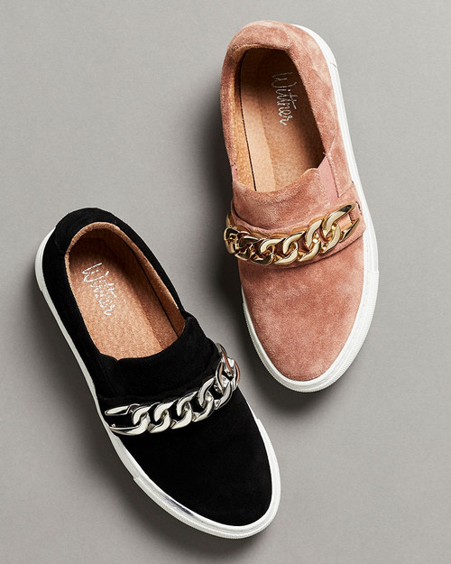 Paolo Mauve Suede Sneaker with Gold Chain
