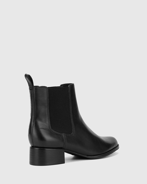 Baelans Black Leather Elasticated Gusset Chelsea Ankle Boot