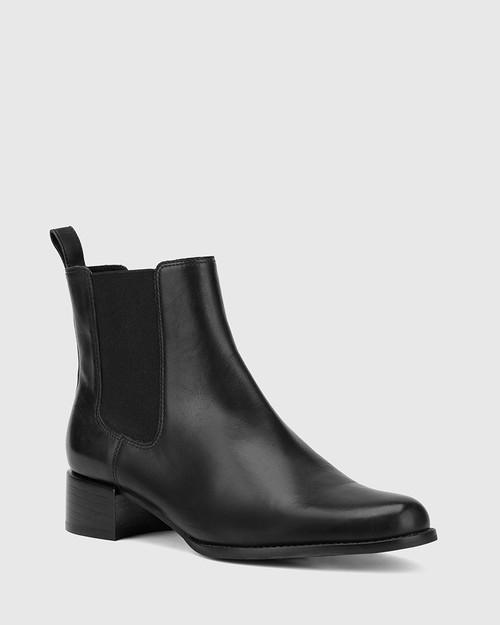 Baelans Black Leather Elasticated Gusset Chelsea Ankle Boot.