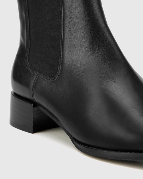 Baelans Black Leather Elasticated Gusset Chelsea Ankle Boot. & Wittner & Wittner Shoes