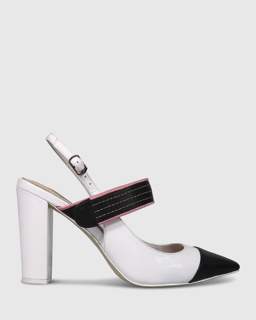 Huetta White And Black Leather Pink Strap Detail Block Heel.