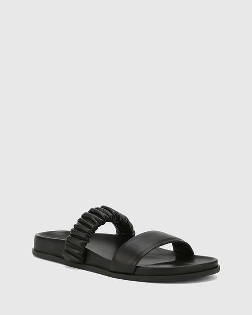 Burgess Black Nappa Leather Flat Sandal . & Wittner & Wittner Shoes