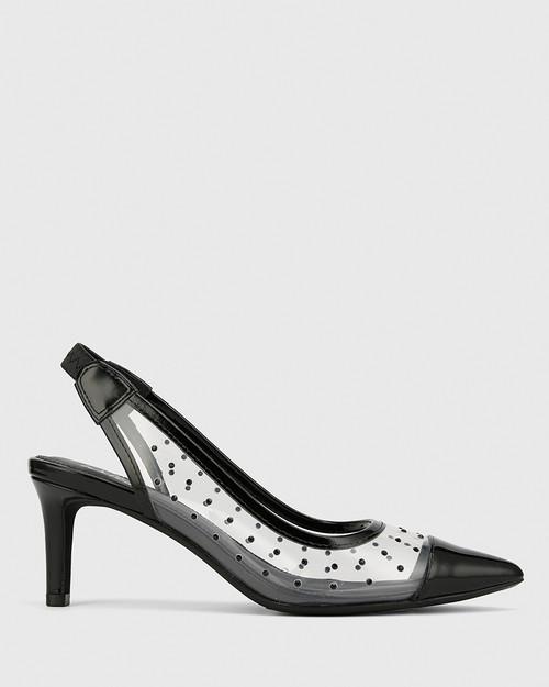 Diamante Black Patent & Clear Vinyl Slingback Heel. & Wittner & Wittner Shoes