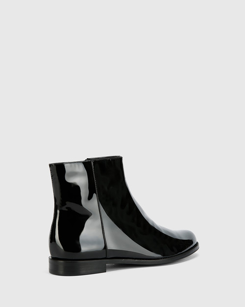 Brenson Black Patent Leather Low Ankle Boot. & Wittner & Wittner Shoes