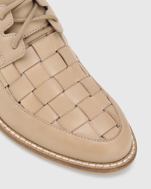 Frenton Light Nude Leather Weave Front Block Heel Brogue. & Wittner & Wittner Shoes