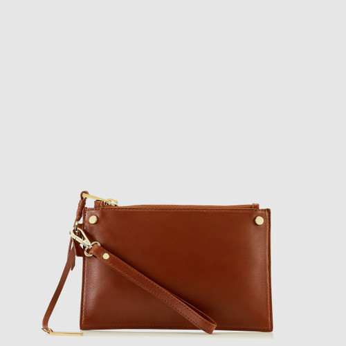 Bexley Cognac Leather Minimalist Clutch