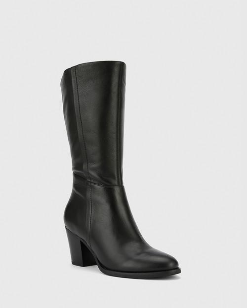 Keddy Black Leather Round Toe Block Heel Boot