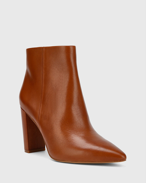Hurlie Cognac Premium Nappa Leather Block Heel Ankle Boot. & Wittner & Wittner Shoes